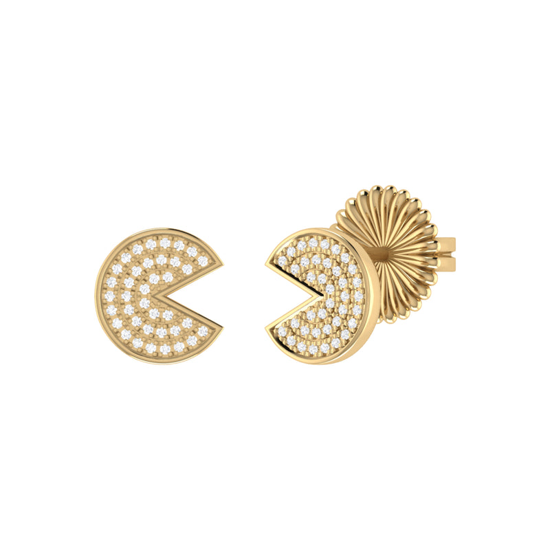 Pac-Man Candy Diamond Earrings in 14K Yellow Gold Vermeil on Sterling Silver