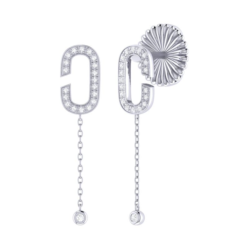 Celia C Diamond Drop Earrings in Sterling Silver