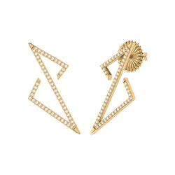 Electric Spark Zig Zag Diamond Earrings in 14K Yellow Gold Vermeil on Sterling Silver