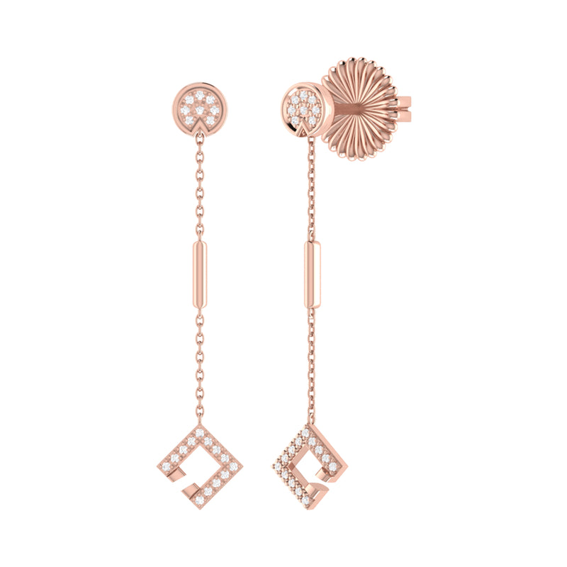 Straight Lace Open Square Street Diamond Earrings in 14K Rose Gold Vermeil on Sterling Silver
