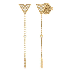 Rise & Grind Triangle Diamond Drop Earrings in 14K Yellow Gold Vermeil on Sterling Silver