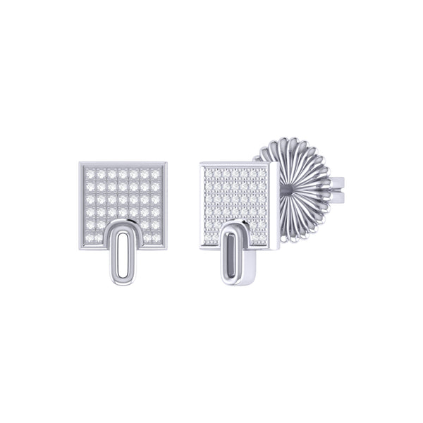 Sidewalk Square Diamond Stud Earrings in Sterling Silver