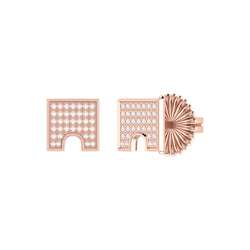 City Arches Square Diamond Stud Earrings in 14K Rose Gold Vermeil on Sterling Silver