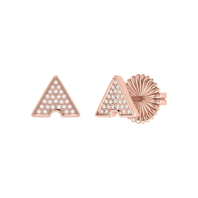 Skyscraper Triangle Diamond Stud Earrings in 14K Rose Gold Vermeil on Sterling Silver