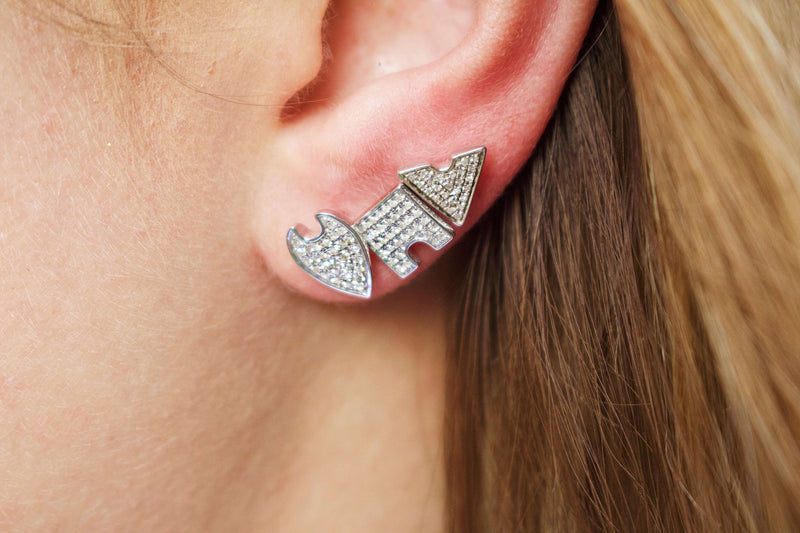 Skyscraper Triangle Diamond Stud Earrings in Sterling Silver