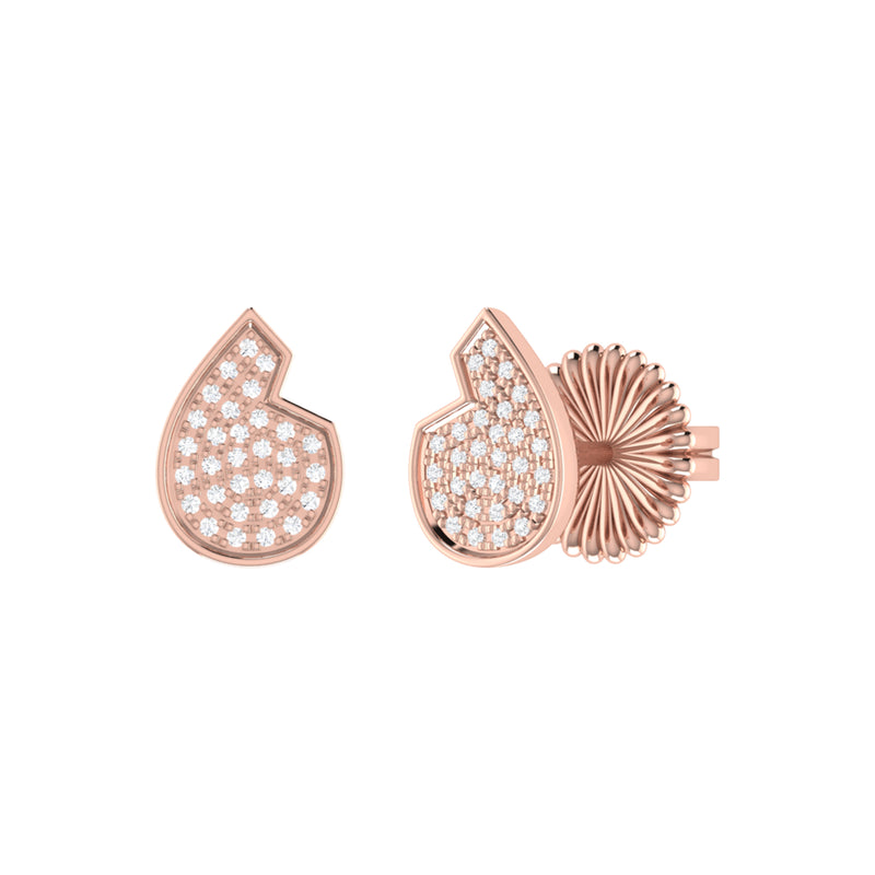Street Cycle Open Teardrop Diamond Stud Earrings in 14K Rose Gold Vermeil on Sterling Silver