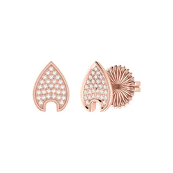 Raindrop Diamond Stud Earrings in 14K Rose Gold Vermeil on Sterling Silver