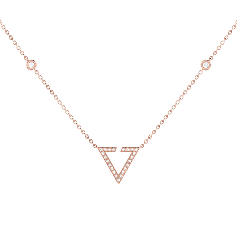 Skyline Triangle Diamond Necklace in 14K Rose Gold Vermeil on Sterling Silver
