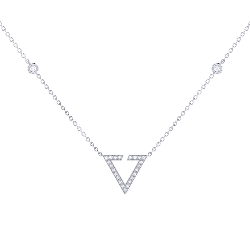 Skyline Triangle Diamond Necklace in Sterling Silver