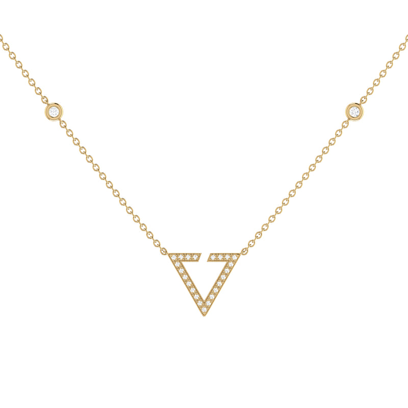 Skyline Triangle Diamond Necklace in 14K Yellow Gold Vermeil on Sterling Silver