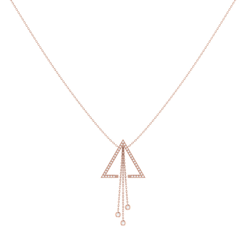 Skyline Triangle Bolo Adjustable Diamond Lariat Necklace in 14K Rose Gold Vermeil on Sterling Silver