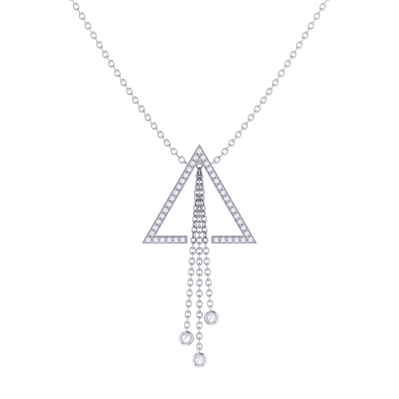 Skyline Triangle Bolo Adjustable Diamond Lariat Necklace in Sterling Silver