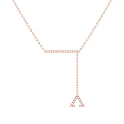 Crane Lariat Bolo Adjustable Triangle Diamond Necklace in 14K Rose Gold Vermeil on Sterling Silver