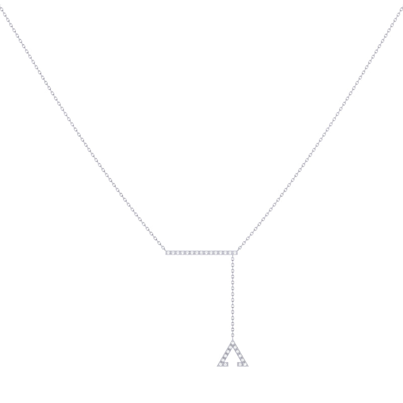 Crane Lariat Bolo Adjustable Triangle Diamond Necklace in Sterling Silver