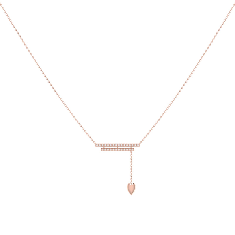 Wrecking Ball Double Bar Bolo Adjustable Diamond Lariat Necklace in 14K Rose Gold Vermeil on Sterling Silver