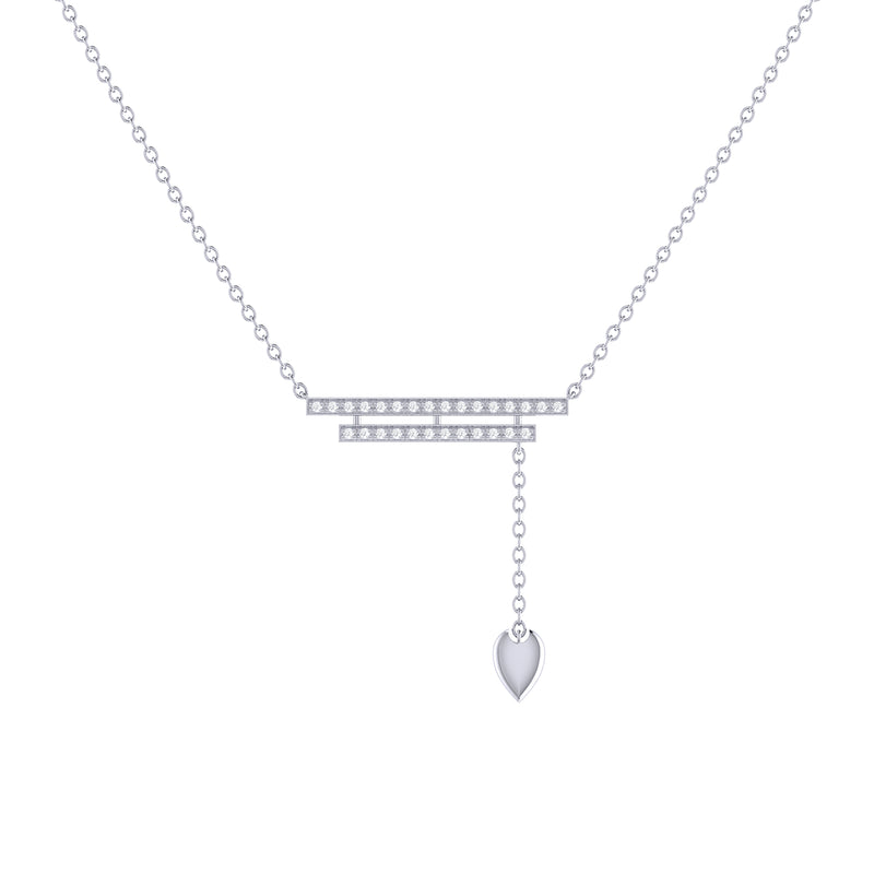 Wrecking Ball Double Bar Bolo Adjustable Diamond Lariat Necklace in Sterling Silver