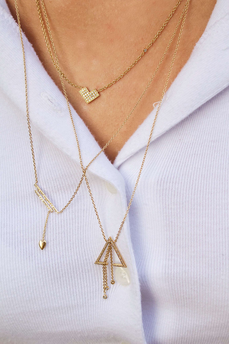 Wrecking Ball Double Bar Bolo Adjustable Diamond Lariat Necklace in 14K Yellow Gold Vermeil on Sterling Silver