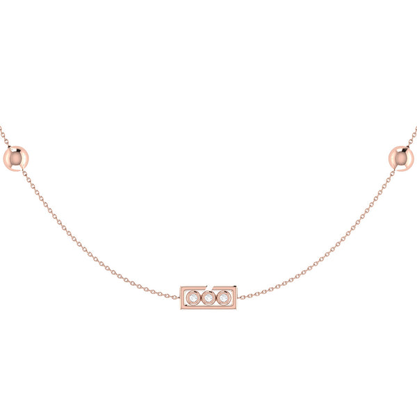 Traffic Light Layered Diamond Necklace in 14K Rose Gold Vermeil on Sterling Silver