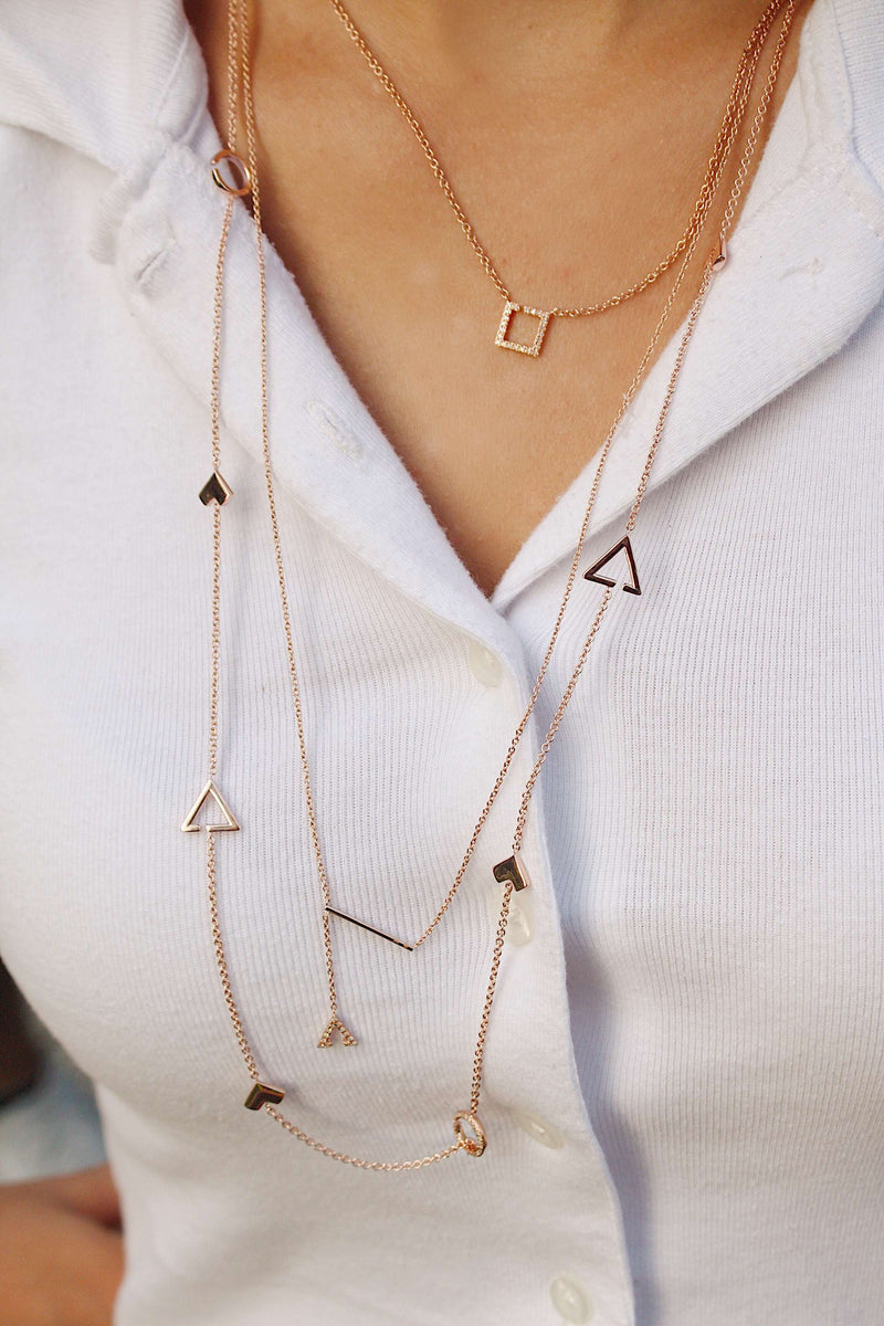 Avani Skyline Geometric Layered Diamond Necklace in 14K Rose Gold Vermeil on Sterling Silver
