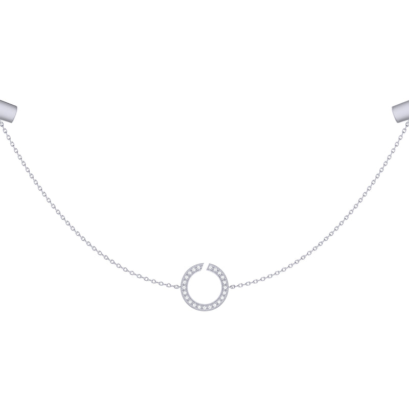 Avani Skyline Geometric Layered Diamond Necklace in Sterling Silver
