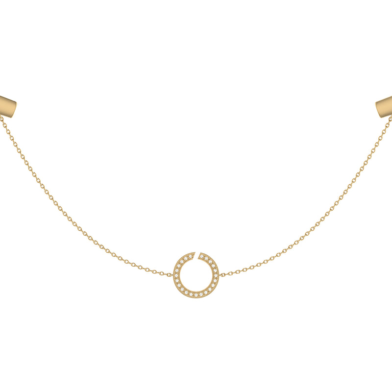 Avani Skyline Geometric Layered Diamond Necklace in 14K Yellow Gold Vermeil on Sterling Silver