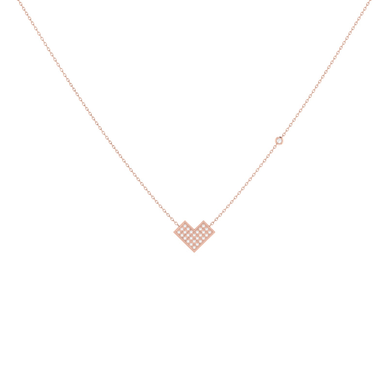 One Way Arrow Diamond Necklace in 14K Rose Gold Vermeil on Sterling Silver