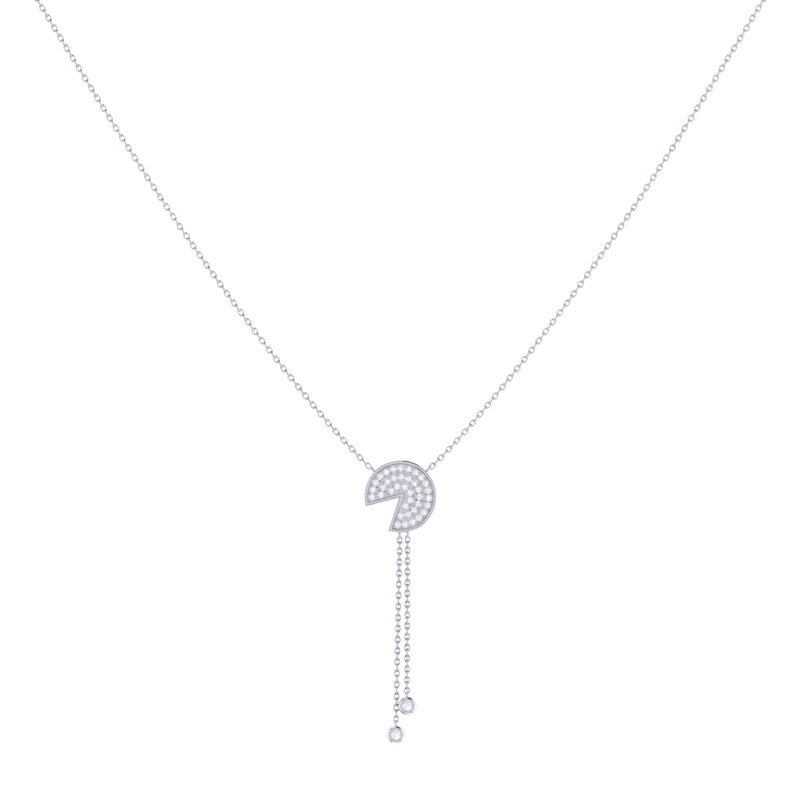 Pac-Man Candy Bolo Adjustable Diamond Lariat Necklace in Sterling Silver