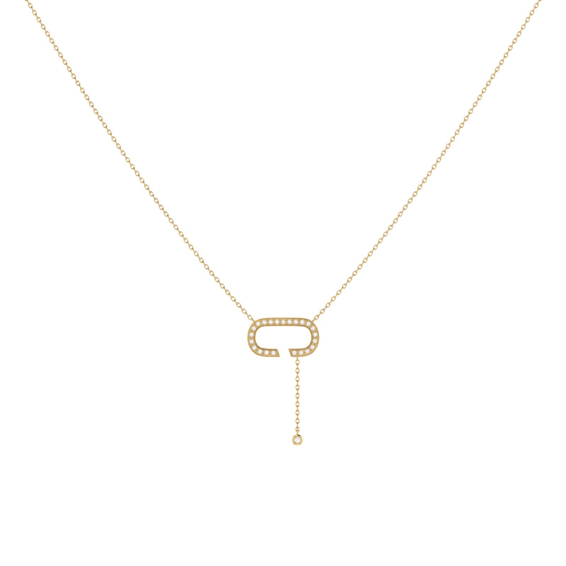 Celia C Bolo Adjustable Diamond Lariat Necklace in 14K Yellow Gold Vermeil on Sterling Silver