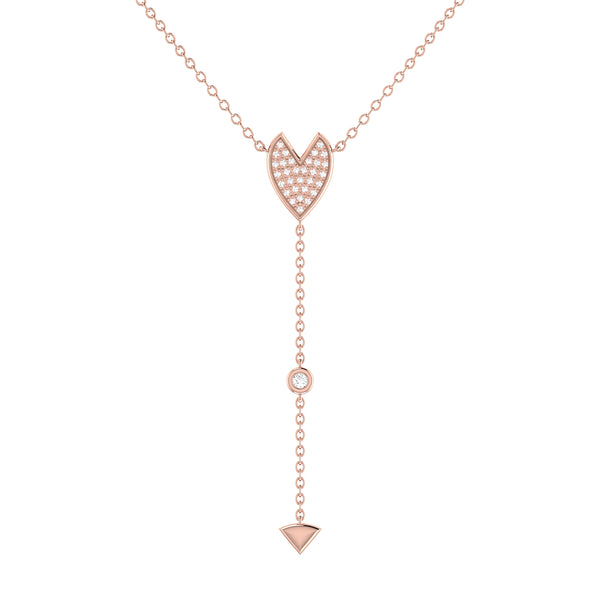 Raindrop Drip Diamond Y Necklace in 14K Rose Gold Vermeil on Sterling Silver