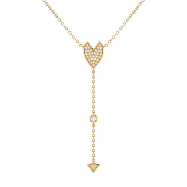 Raindrop Drip Diamond Y Necklace in 14K Yellow Gold Vermeil on Sterling Silver