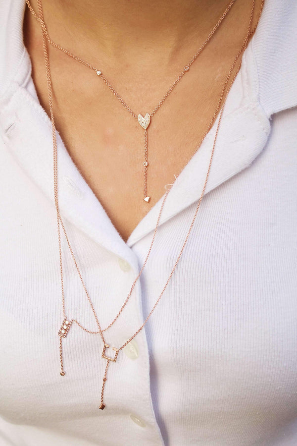 Street Light Open Square Bolo Adjustable Diamond Lariat Necklace in 14K Rose Gold Vermeil on Sterling Silver