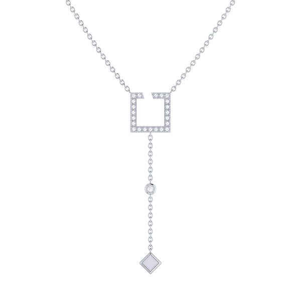 Street Light Open Square Bolo Adjustable Diamond Lariat Necklace in Sterling Silver