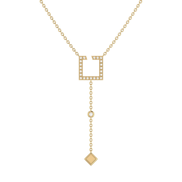 Street Light Open Square Bolo Adjustable Diamond Lariat Necklace in 14K Yellow Gold Vermeil on Sterling Silver