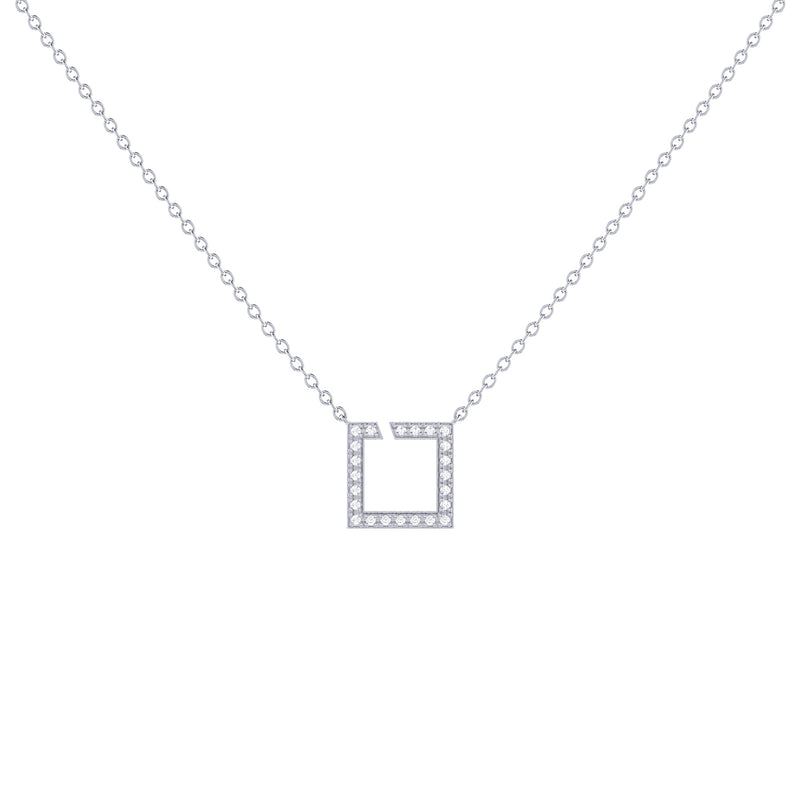 Street Light Diamond Square Necklace in Sterling Silver