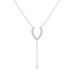 Drizzle Drip Teardrop Bolo Adjustable Diamond Lariat Necklace in Sterling Silver