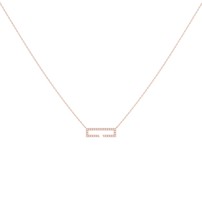 Swing Rectangle Diamond Necklace in 14K Rose Gold Vermeil on Sterling Silver