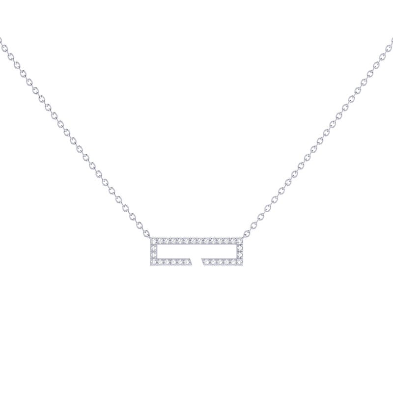 Swing Rectangle Diamond Necklace in Sterling Silver