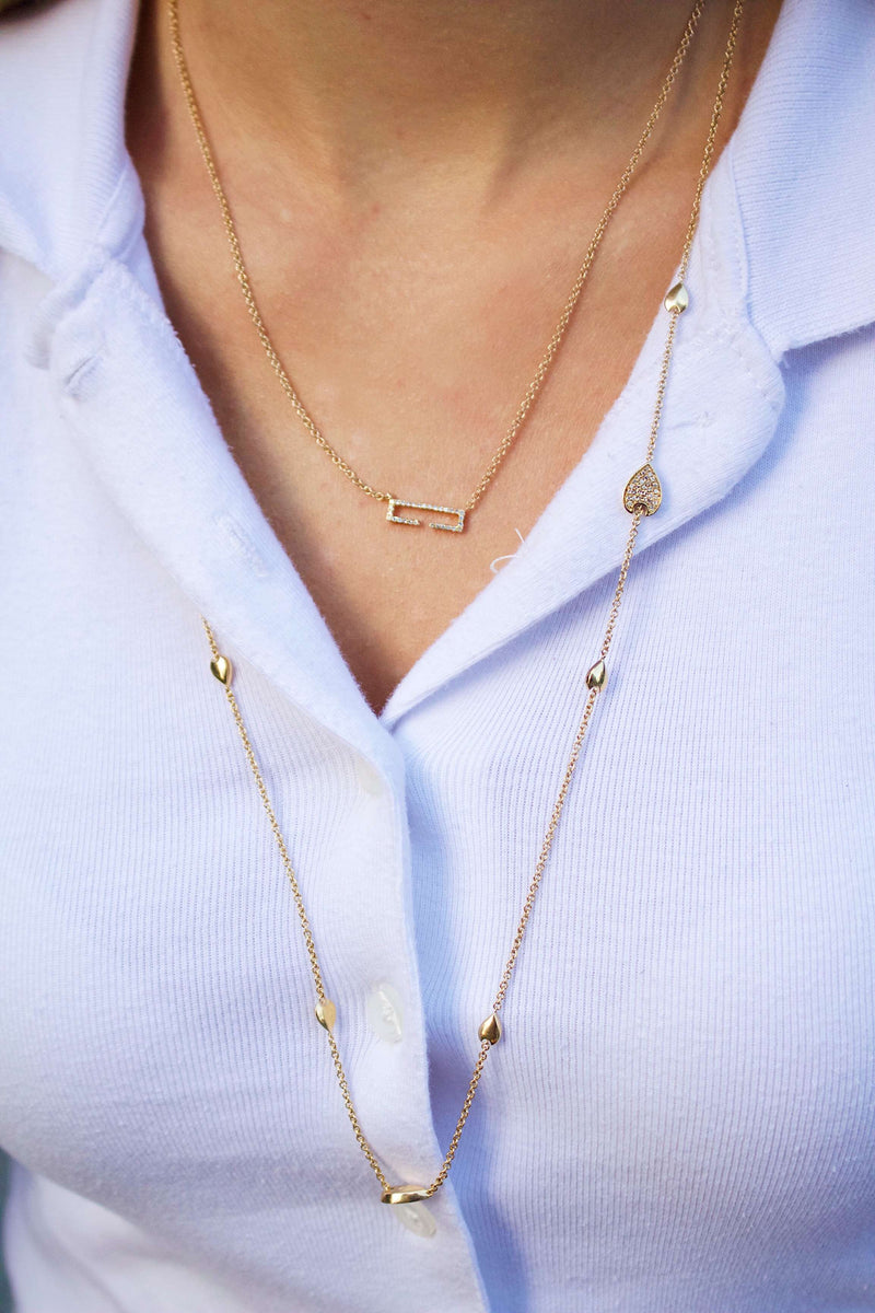 Swing Rectangle Diamond Necklace in 14K Yellow Gold Vermeil on Sterling Silver