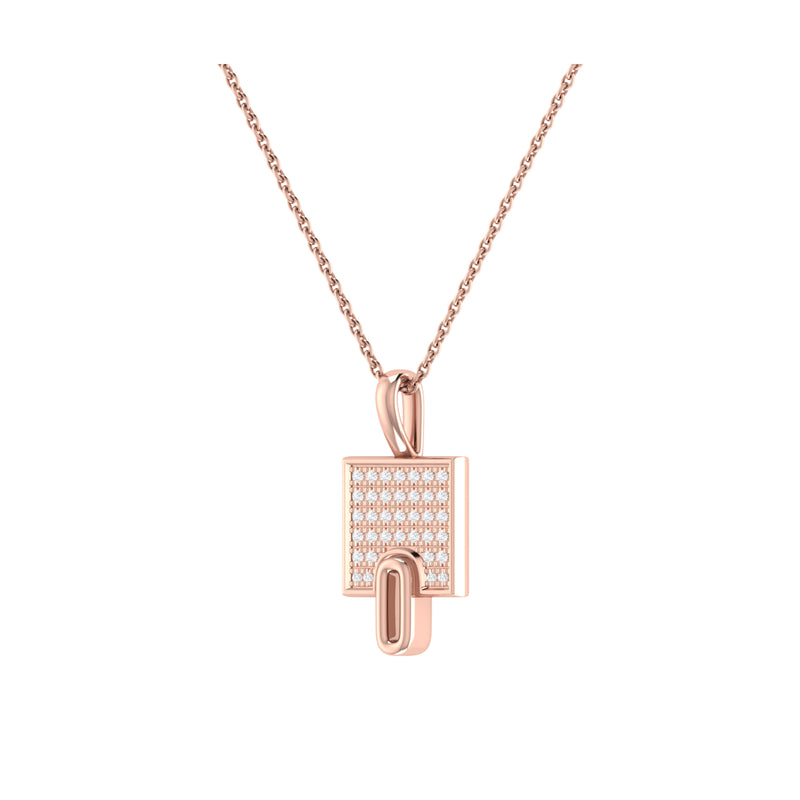 Sidewalk Square Diamond Pendant in 14K Rose Gold Vermeil on Sterling Silver
