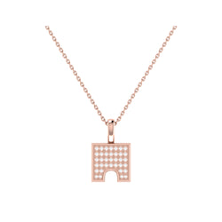 City Arches Square Diamond Pendant in 14K Rose Gold Vermeil on Sterling Silver