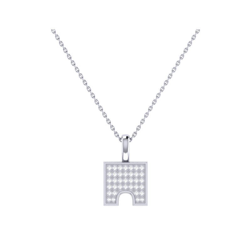 City Arches Square Diamond Pendant in Sterling Silver