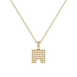 City Arches Square Diamond Pendant in 14K Yellow Gold Vermeil on Sterling Silver