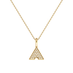 Skyscraper Triangle Diamond Pendant in 14K Yellow Gold Vermeil on Sterling Silver