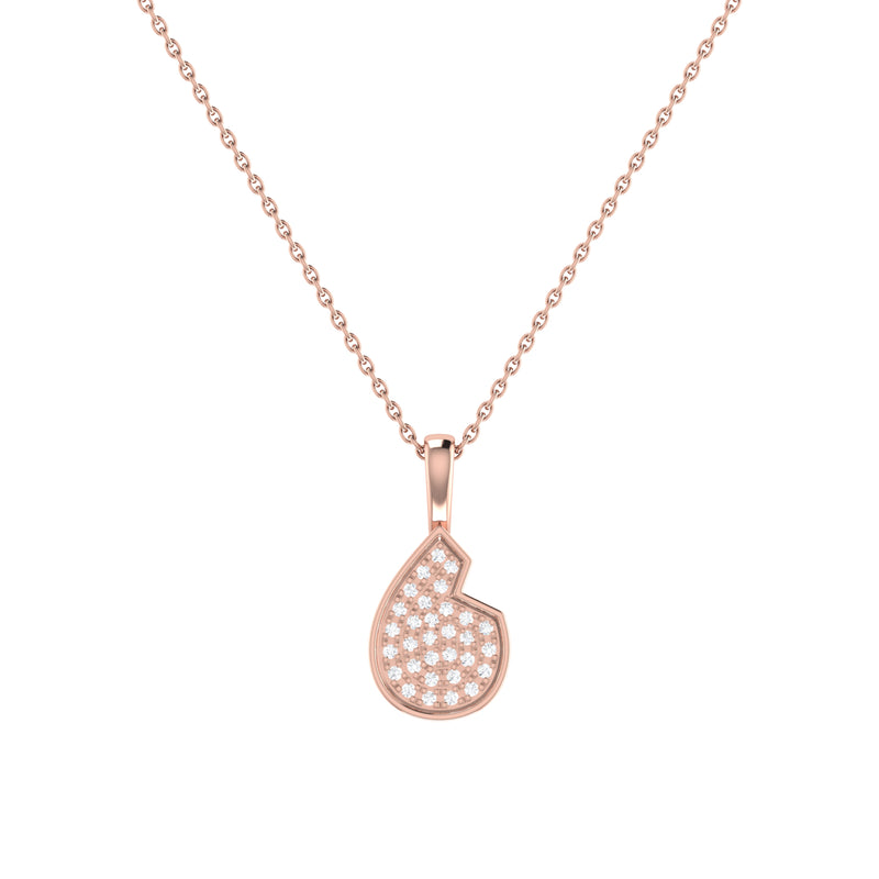Street Cycle Open Teardrop Diamond Pendant in 14K Rose Gold Vermeil on Sterling Silver