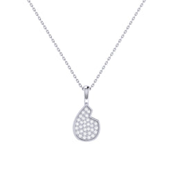 Street Cycle Open Teardrop Diamond Pendant in Sterling Silver