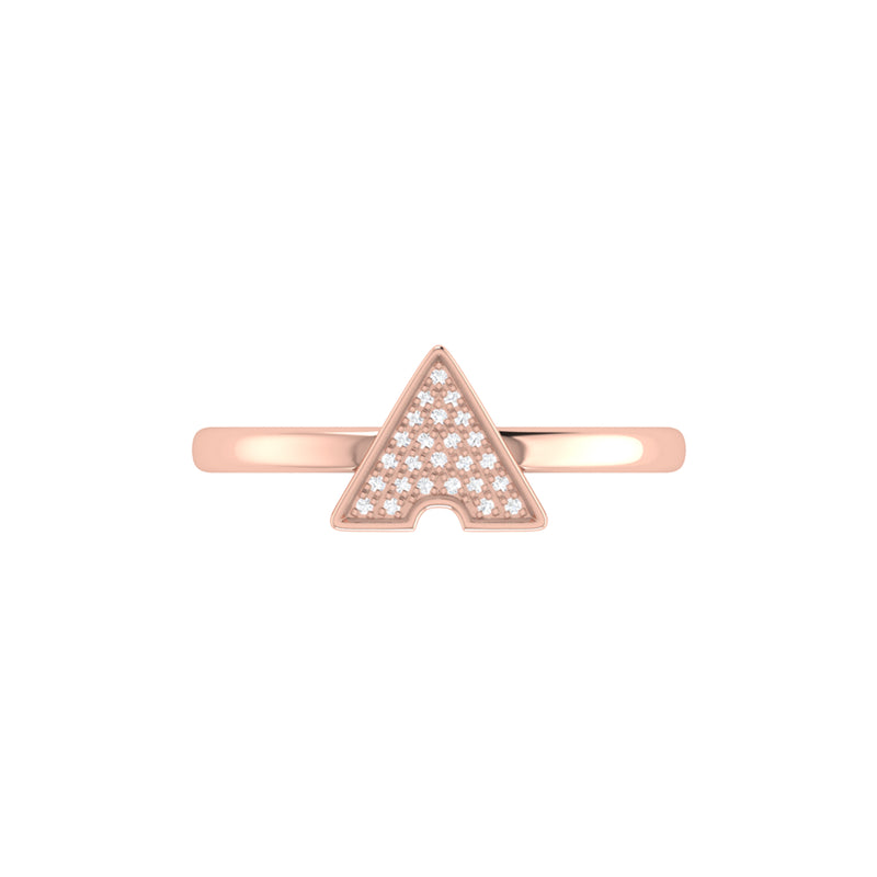 Skyscraper Triangle Diamond Ring in 14K Rose Gold Vermeil on Sterling Silver