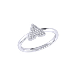 Skyscraper Triangle Diamond Ring in Sterling Silver