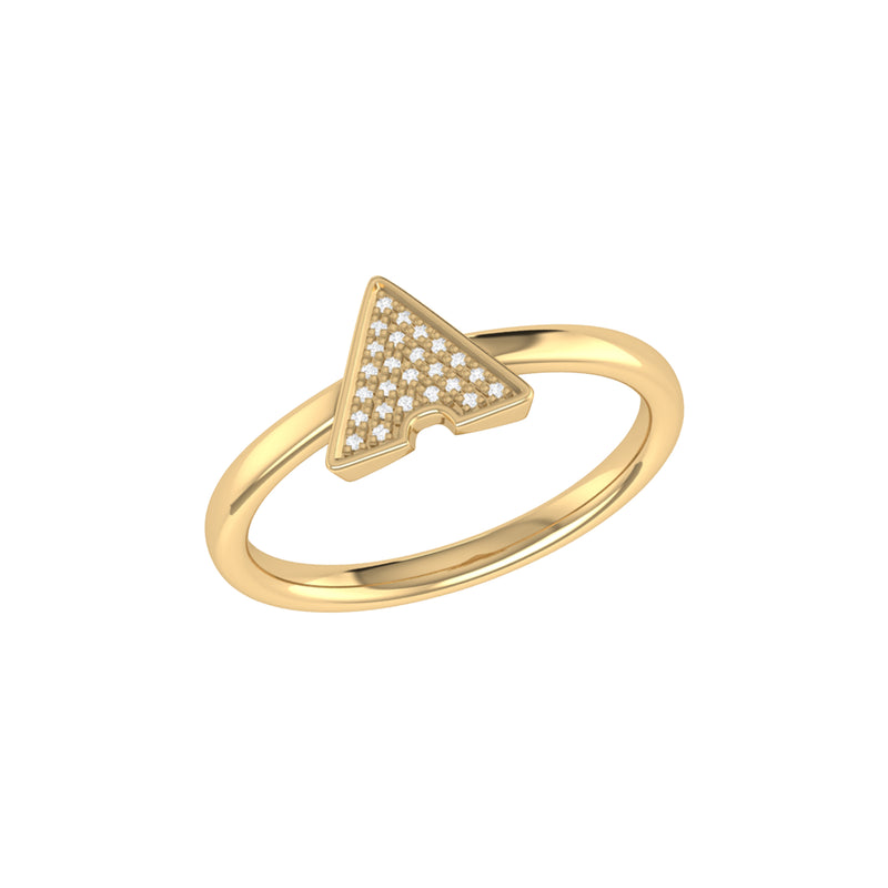 Skyscraper Triangle Diamond Ring in 14K Yellow Gold Vermeil on Sterling Silver
