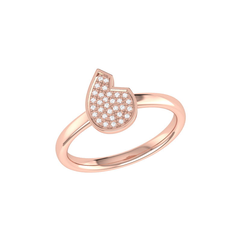 Street Cycle Open Teardrop Diamond Ring in 14K Rose Gold Vermeil on Sterling Silver