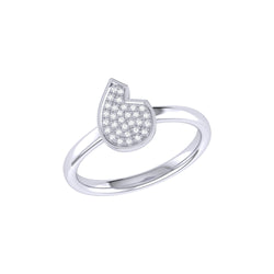 Street Cycle Open Teardrop Diamond Ring in Sterling Silver